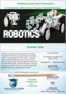 Robotics Summer Camp Flyer in Paulding County, Dallas, GA