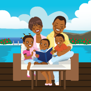 Summer reading together as a family outside